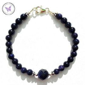 Blue Goldstone Bracelet with Faceted feature bead